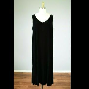 Eileen Fisher Black Velvet V-Neck Tank Midi Dress